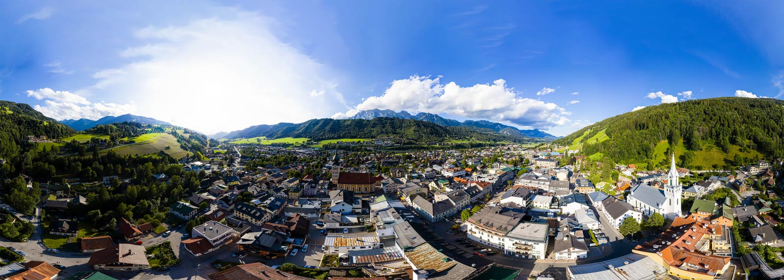 Schladming im Ennstal, Panoramafotografie, Luftpanorama, Lothar Scherer, Fotograf, Schladming